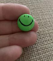 Rare Vintage Mini Tiny Small Smiley Face pinback pin button GREEN