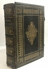 Antique Illustrated Holy Bible with metal clasps - possibly from around 1870