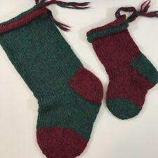 Hand Knit Christmas Stocking Set Of 2 Coordinating Burgundy and Green