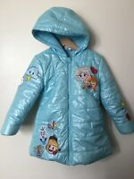 `Disney Collection Frozen Puffer Jacket Coat Ice Blue Anna Elsa Olaf 4