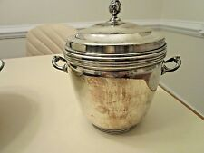 Vintage Sheffield Silver Co Silverplate Ice Bucket with Heavy Glass Liner
