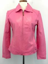 Black Rivet Pink Leather Jacket S Small Womens Lined Zip up Coat