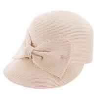 Women Front Bow Netting Straw Baseball Golf Cap Sports Sun Summer Hat T361