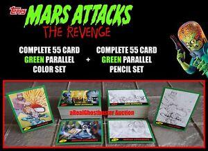 2017 Topps Mars Attacks The Revenge Complete 110 Card Green Parallel Set