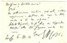 Cartolina Autografo Ettore Cozzani Editore Scrittore Rivista Arte L'Eroica 1914