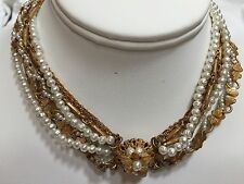Vintage early MIRIAM HASKELL 7-strand Baroque Pearl & Gold tone Chain Necklace