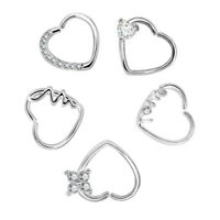 1 Pair Heart Stainless Steel Crystal Flower Nostril Hoop Nose Ring Ear Piercing