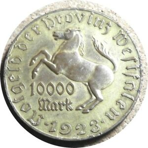 elf Germany Notgeld Westphalia 10,000 Marks 1923 Gilt Tomac Horse
