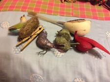 Lot Of 5 Vintage Birds For Christmas Tree