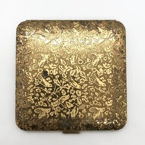 Vintage Dorset Fifth Avenue Gold Tone Birds Leaf Leaves Compact Mirror