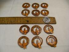 Vintage wooden candle ring with holly buttons. Unusual lot of 12 buttons. Crafts