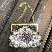 Vtg Black Floral Petit Point Tapestry Purse Handbag Bag Red Embroidery 50s 60s