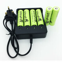 6PCS 18650 Battery 8800mAh 3.7V Li-ion Rechargeable with 4.2V UK Plug Charger TR