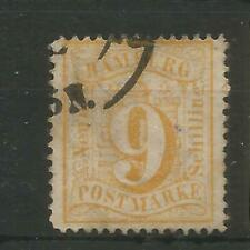 GERMANY STATES - HAMBURG SG38 9 SCHILLING YELLOW FINE USED VERY SCARCE SEE NOTE