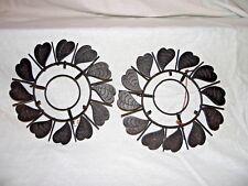 Vintage Plate/Tile Holder Circular Leaf Design Black Metal Wall Mount