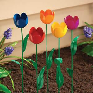 Set of 5 Metal Tulip Stakes Flowers Garden Yard Art Decor