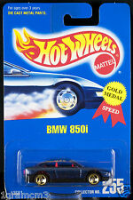 Hot Wheels Collector No.255 BMW 850i Gold 3 SP's Blue Card 1995 New On Card