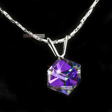 pendant necklace 18k white gold made with SWAROVSKI crystal drop classic simple