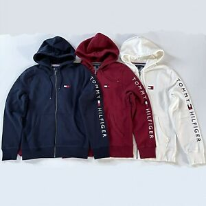 NWT Tommy Hilfiger Men's Fleece Dash Embroidered Logo Full Zip Hoodie All Sizes