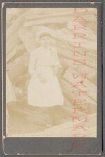 Vintage Cabinet Photo Cute Girl w/ Split Wood Logs 698571