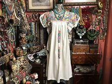 Absolutely Beautiful Vintage White Oaxacan Mexican Dress Multi Embroidery Xl