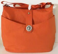 NEW BAGGALLINI Helsinki Silver HOBO Orange Nylon Crossbody Shoulder Bag Light