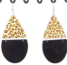 "Lucite hinged animal print dangle earrings huge 3.5"" brown cheetah print"