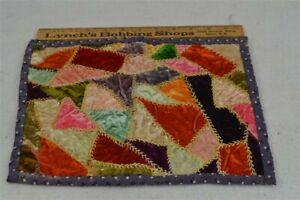 old early miniature doll quilt velvet crazy embroidered 10x12.5 1800 original