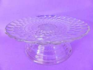 Depression Glass Cake Stand, Anchor Hocking Bubble Glass, Hand Made Custom