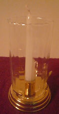 VINTAGE PARTYLITE SOLID BRASS CANDLE HOLDER LANTERN LAMP LIGHT W GLASS SHADE EUC