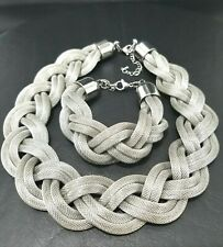 Stainless Steel Multi Strand Braided Silver Mesh Chunky Necklace & Bracelet