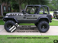 JEEP YJ black Aluminum Diamond Plate Side ROCKER PANEL With No Cut Outs Set