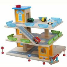 Wooden Car Park Garage With Lift Fun Toy Cars - Tatty
