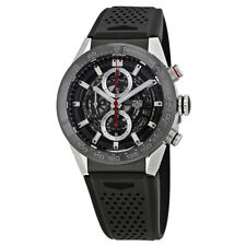 Tag Heuer Carrera Skeleton Dial Automatic Mens Chronograph Rubber Watch