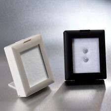 WHITE GLASS TOP GEM BOX w/EASEL SHOWCASE DISPLAY GEMSTONE STORAGE COINS DISPLAY