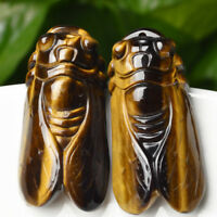 Natural Tiger's-Eye Stone Crystal Carved Cicada Healing Gemstone Pendant