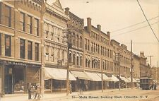 Oneonta NY Street View Store Fronts Trolley Optometrist RPPC Real Photo Postcard