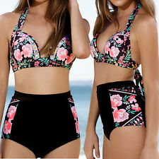 Women Boho Floral High Waist Padded Bikini Set Beach Swimsuit Swimwear Plus Size