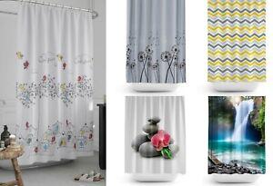 Rideau de douche extra long en tissu de salle de bain, nombreux modèles 180x200