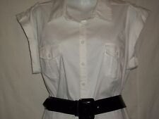 Worthington Stretch Womens White Belted Blouse Button Shirt XL Cuff Sleeve