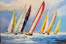 Grand Tableau Voiliers Antonio Palmieri peinture painting toile mouvement huile