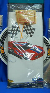 Race Car Party Set # 10 Racing Plates Napkins Tablecover Horns Hat Cups VINTAGE