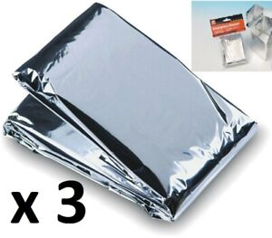 3 x Foil Blankets Emergency Survival Thermal Heat Camping Marathon Runners