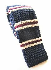 SUPERNOVA Skinny Navy Burgundy Cream Stripe Knitted Silk Tie Mod Indie Narrow