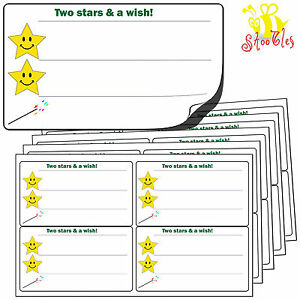 64 LARGE Two 2 Stars and a Wish Stickers 99x57mm.Premium Self Adhesive Labels