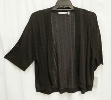 VERY BLACK SOFT OPEN FRONT/WEAVE KNIT CROCHET CARDIGAN JACKET SWEATER TOP~2X~NW