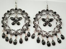 Large Silver Tone & Black Faceted Glass Drop Earrings  10.5cm - on Hooks