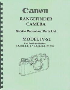 Canon IV-S2 Rangefinder Camera Service & Repair Manual Reprint