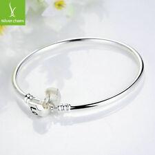 Romantic Silver Love Snake Chain Bangle Fit Original Charm Bnagle 21cm Jewelry