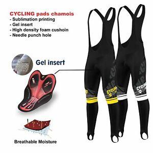 FDX Mens Pro Bib Tights Winter Thermal 3D Gel Padded Bicycle Leggings Long Pants